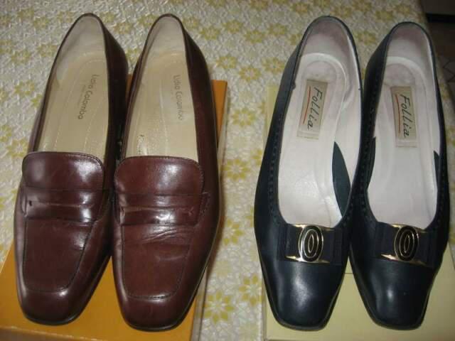 1 paia scarpe donna vero cuoio n.40