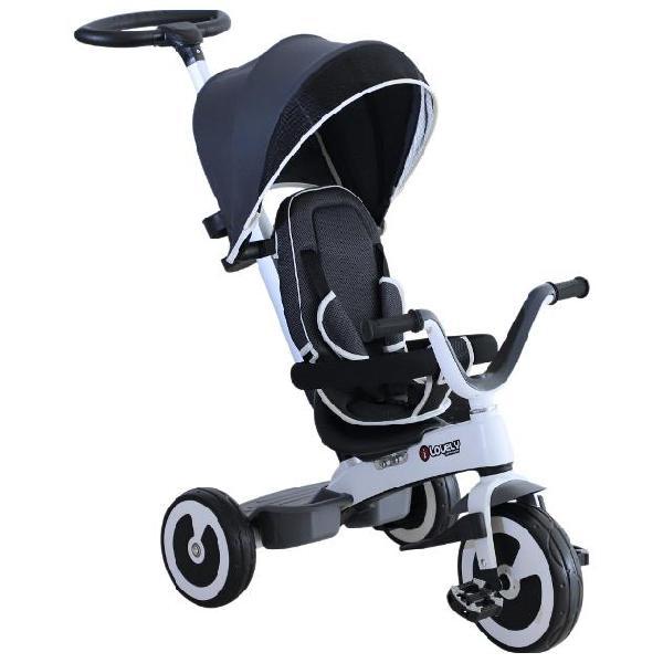 Passeggino triciclo per bambini con maniglione tettuccio e