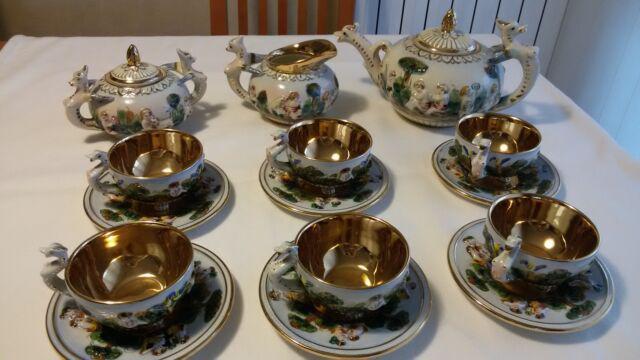 Servizio da the antico in ceramica capodimonte