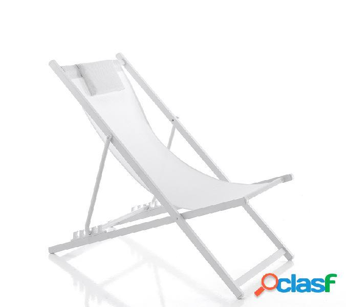 Comoda sedia sdraio a dondolo color sabbia, ideale per l