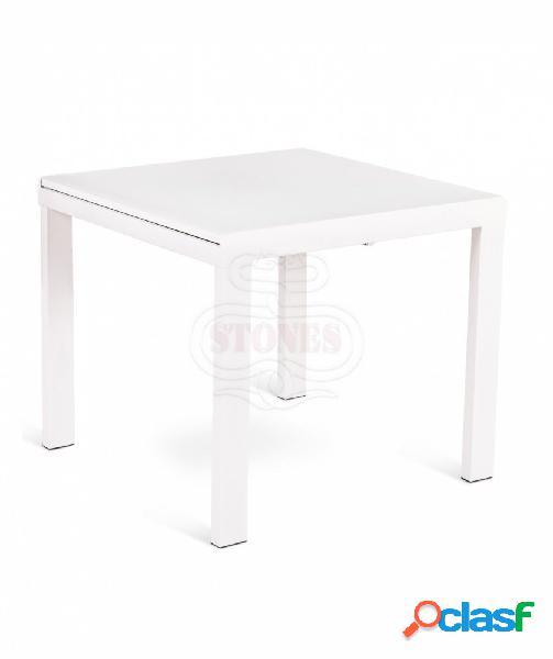 Tavolo quadrato allungabile in vetro bianco