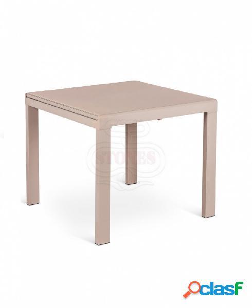 Tavolo quadrato allungabile in vetro cappuccino