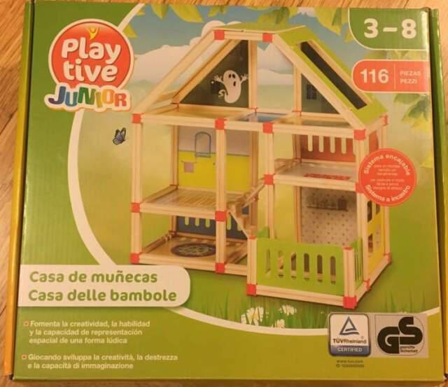 Casa bambole componibile in legno 116 pezzi nuova