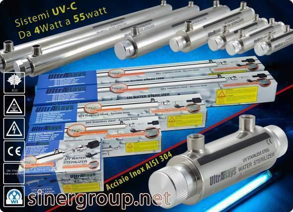 "Ultrarays sistema uv completo 4w. 1/4"" depuratori acqua"
