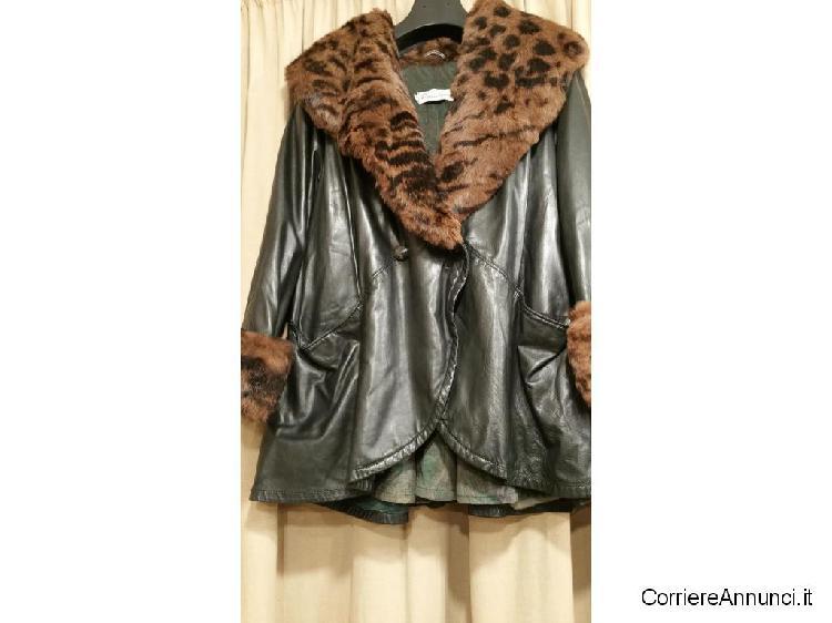 giacca di pelle con collo di pelo vero