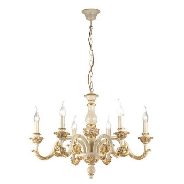 Lampada a sospensione 6 x 40w e14 ideal lux oro