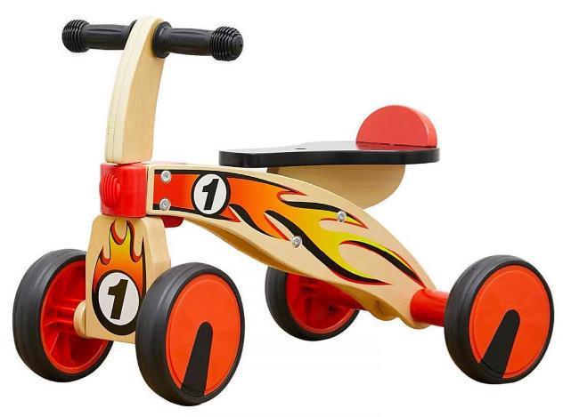Triciclo per bambini in legno 4 ruote kids joy primi passi