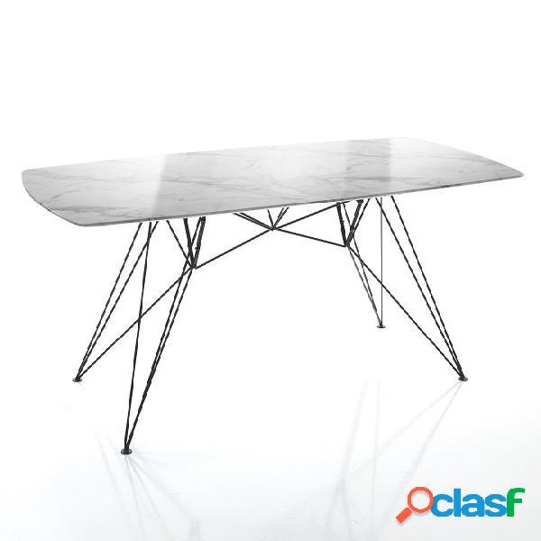 Tavolo fisso 100x200 cm effetto marmo calacatta zampe a spillo