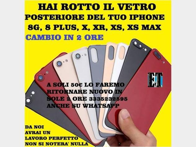 Vetro scocca iphone 8g, 8plus, x, xr, xs, xs max nuovo