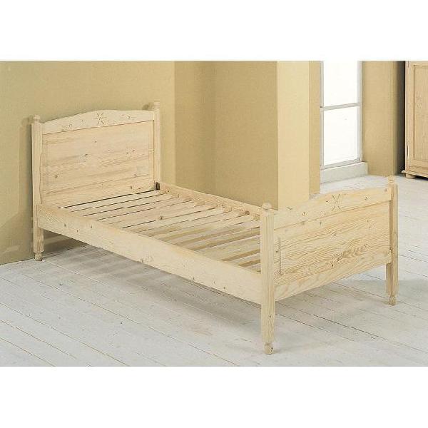 Letto singolo con doghe in legno abete grezzo 90x205x83cm