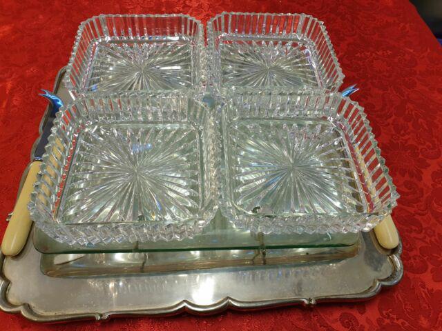 Servizio di vassoio di argento 800 e vaschette di cristallo