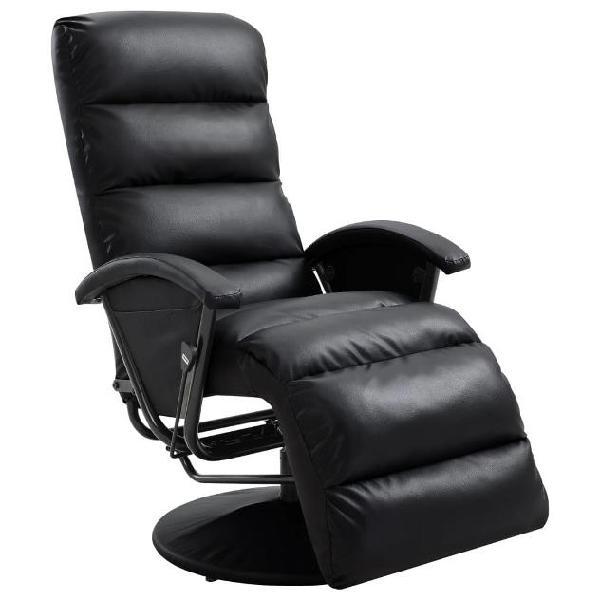 Vidaxl poltrona per tv reclinabile nera in similpelle