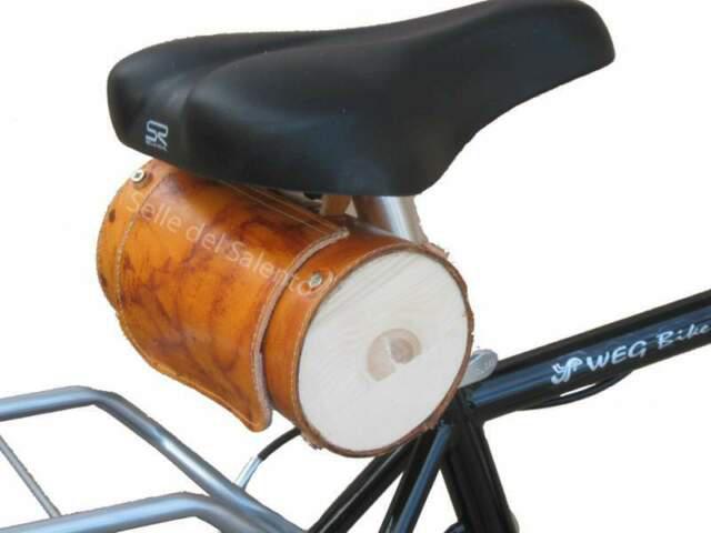 Borsa cilindrica a tubo in cuoio è legno per bici vintage