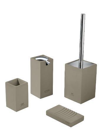 Set 4 accessori da bagno in resina tft accessories tortora