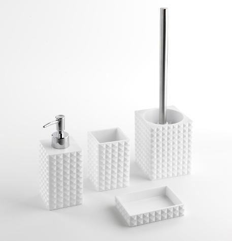 Set 4 accessori da bagno in resina tft naama bianco e