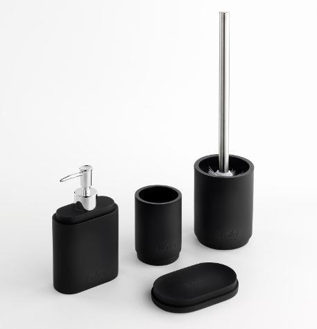 Set 4 accessori da bagno in resina tft paraa nero opaco