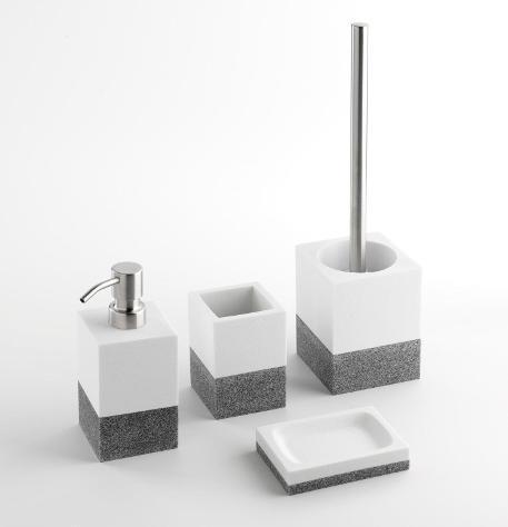 Set 4 accessori da bagno in resina tft saada bianco e grigio