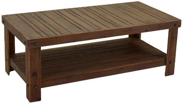 Tavolino rettangolare in legno di abete e mdf 2 piani adami