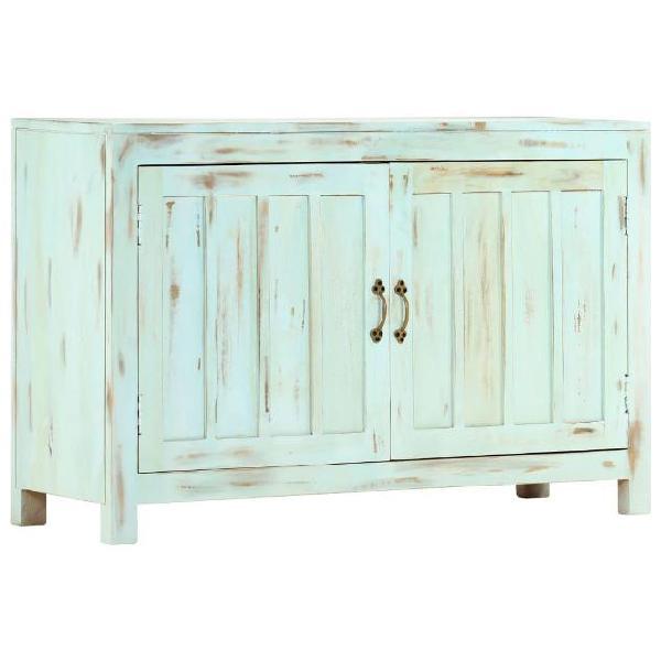 Vidaxl credenza azzurra 110x35x70 cm in legno massello di