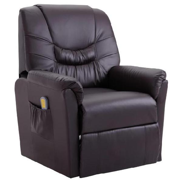Vidaxl poltrona massaggiante reclinabile marrone in