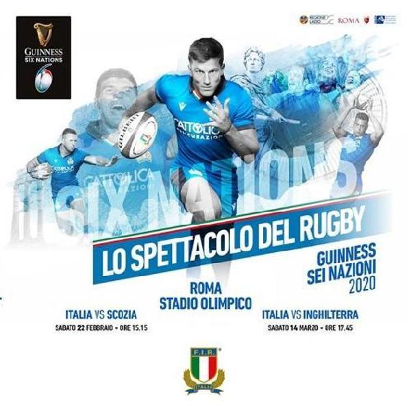 Sei Nazioni Rugby 2020 - il 14 marzo 2020 - partenza da ROMA