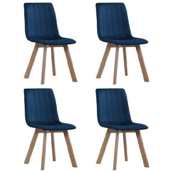 Vidaxl sedie da pranzo 4 pz blu in velluto