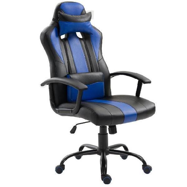 Sedia da gaming ergonomica in ecopelle altezza regolabile