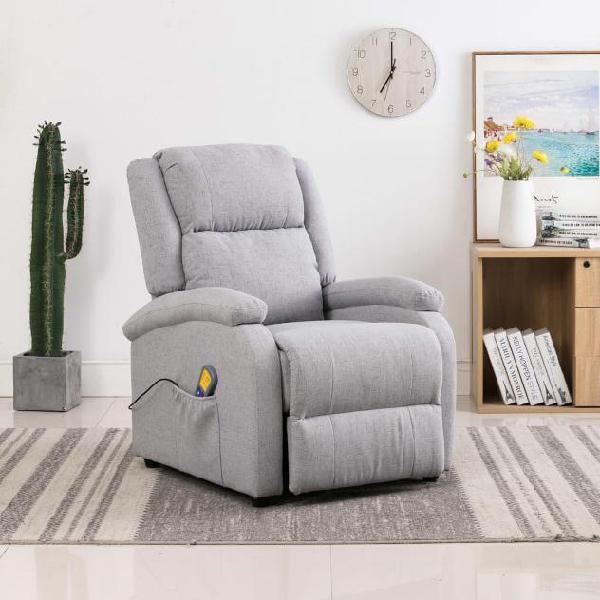 Vidaxl poltrona massaggiante reclinabile grigio chiaro in