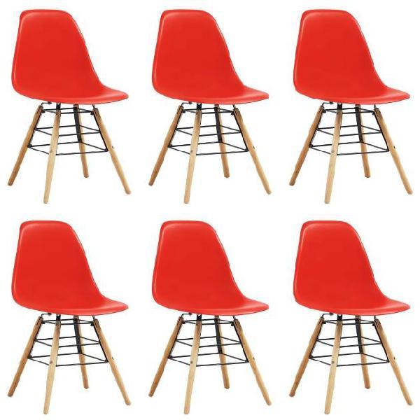 Vidaxl sedie da pranzo 6 pz rosse in plastica