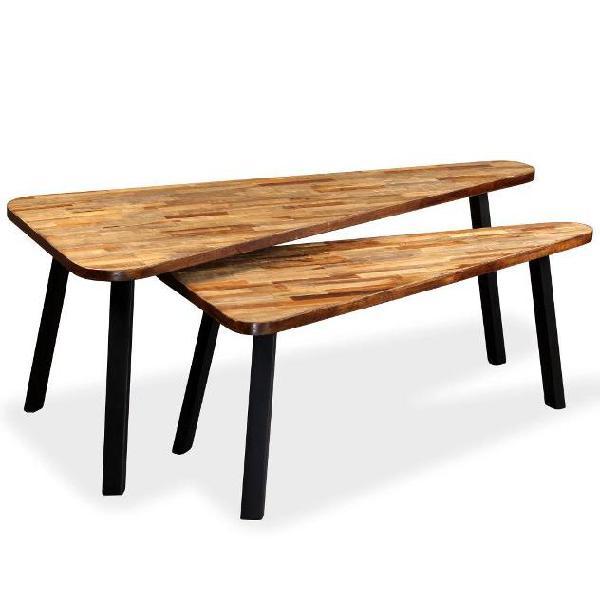 Vidaxl set tavolini da caffè 2 pz legno massello di teak di