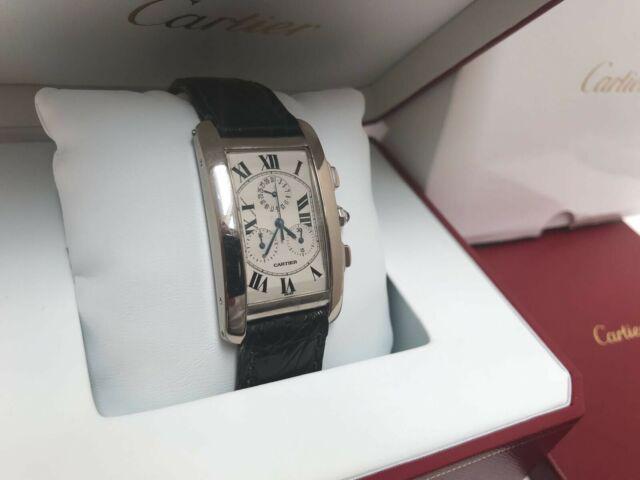Cartier tank americaine uomo cronografo 18k oro bianco 2312