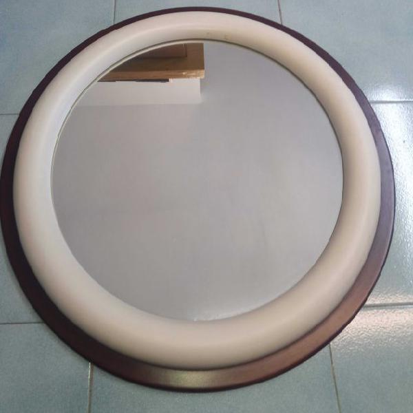 Specchio rotondo base legno bagno