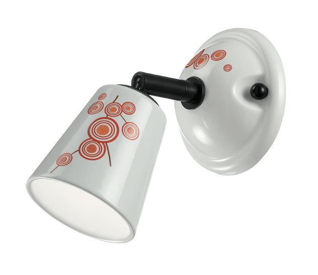 Faretto Spot Orientabile Ceramica Decoro Arancio G9 Intec