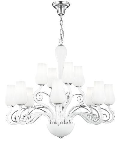 Lampadario vetro soffiatto bianco trasperente decoro cromato