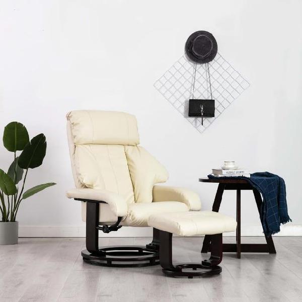 Vidaxl poltrona tv reclinabile con poggiapiedi bianco crema