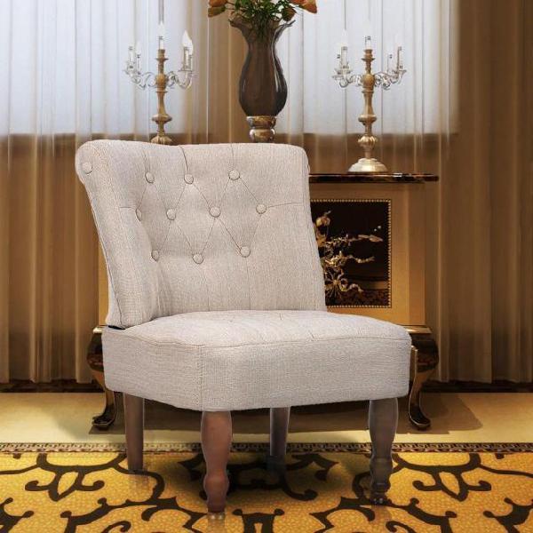 Vidaxl sedia francese in stoffa crema