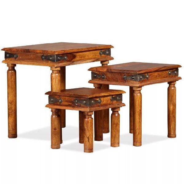 Vidaxl tavolini impilabili 3 pz in legno massello di
