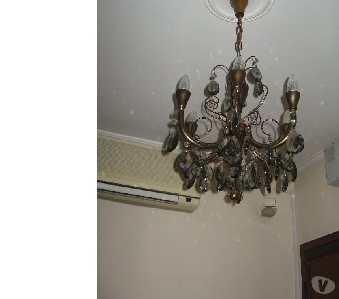 Lampadario metallo e vetro a sei luci