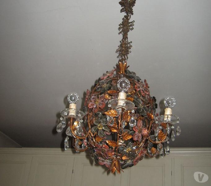 Lampadario vetro di murano e metallo a sei luci