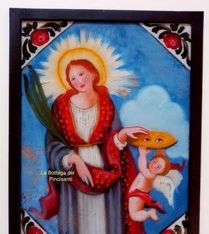 Santa lucia c cm 40x30 dipinto su vetro repro sicilia arte