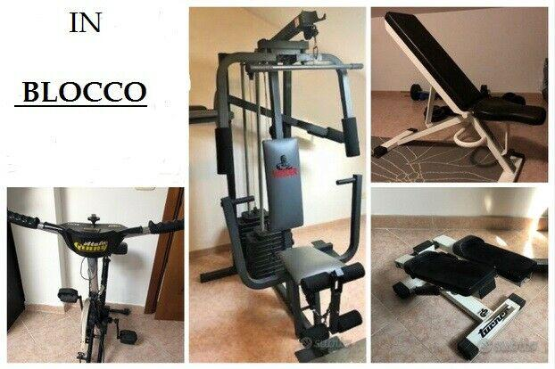Palestra unico blocco multipower step cyclette panca