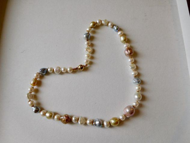 Collana di perle originali keshi, akoya e