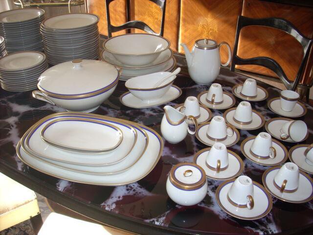 Servizio piatti porcellana bordo oro e cobalto