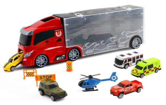 Camion trasportatore con 6 veicoli e accessori kids joy