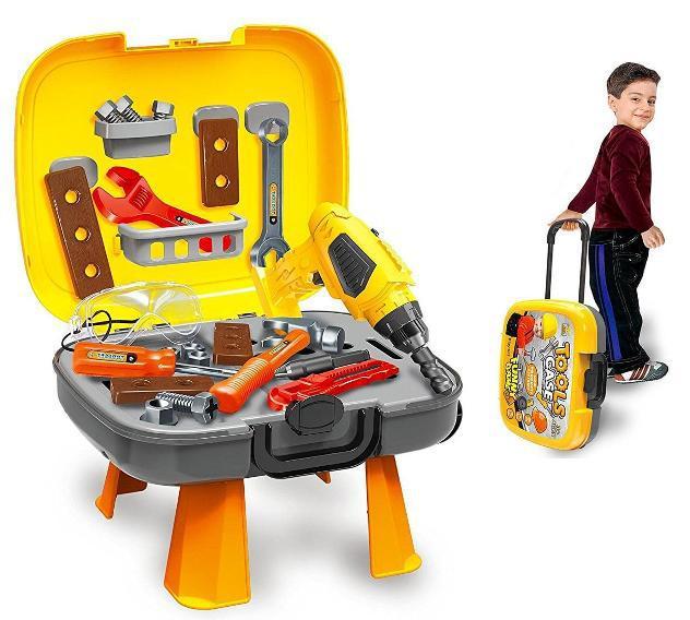 Valigetta trolley banco con 34 attrezzi da lavoro kids joy