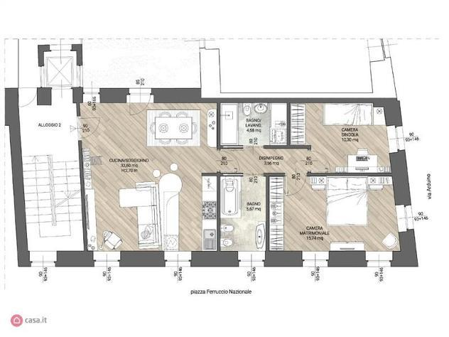 Appartamento di 100mq in piazza ferruccio nazionale a ivrea