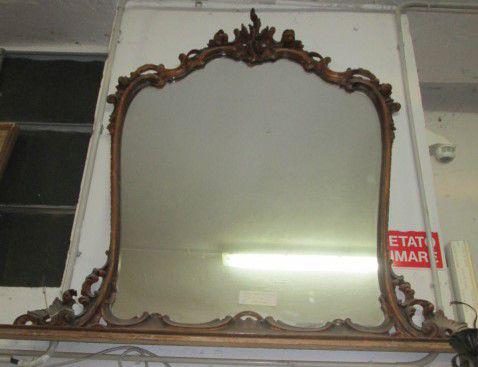 Specchiera cornice in legno color oro intarsiata