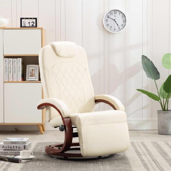 Vidaxl poltrona per tv reclinabile bianco crema in