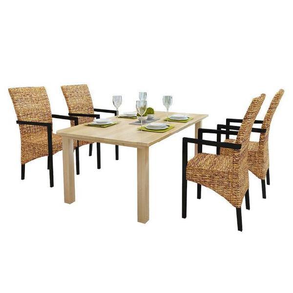 Vidaxl sedie da pranzo 4 pz in abaca e legno massello di