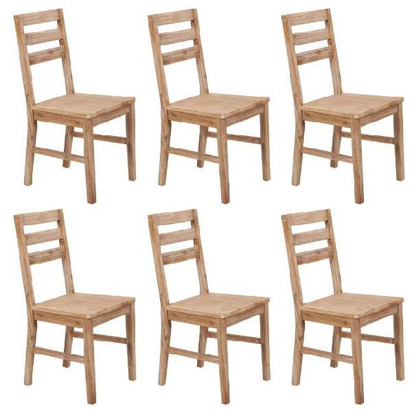 Vidaxl sedie da pranzo 6 pz in legno massello di acacia